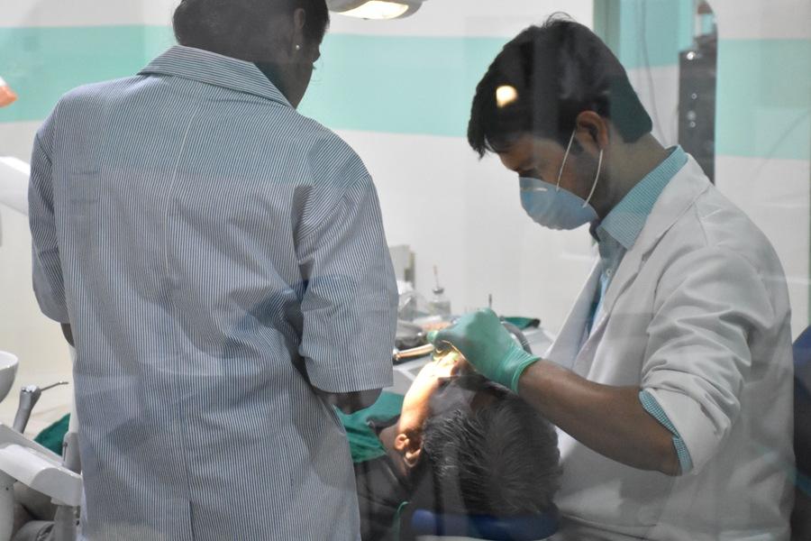 Dr. Sujay Gopal doing Dental Implant Procedure at Sujay's dental Care