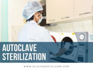 Dental hygienist keeping dental instruments inside a autoclave sterilization unit