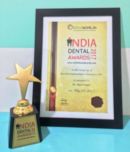 India Dental Award certificate 2017