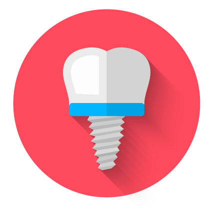 Circular dental implant icon with red background