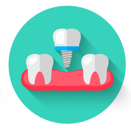 Circular dental implant icon with green background